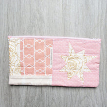 Load image into Gallery viewer, Coral Rose Quilted Zipper Pouch