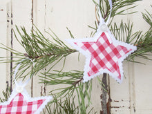 Load image into Gallery viewer, Gingham and Felt Star Ornaments with Vintage Buttons, Set of Three