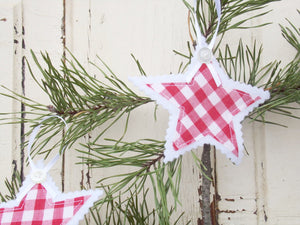 Gingham and Felt Star Ornaments with Vintage Buttons, Set of Three