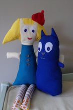 Load image into Gallery viewer, Peg and Cat Handmade Plush Doll Duo, Peg Plus Cat Dolls, Stuffed Peg Plus Cat Dolls, Cartoon Inspired Peg Plus Cat Dolls