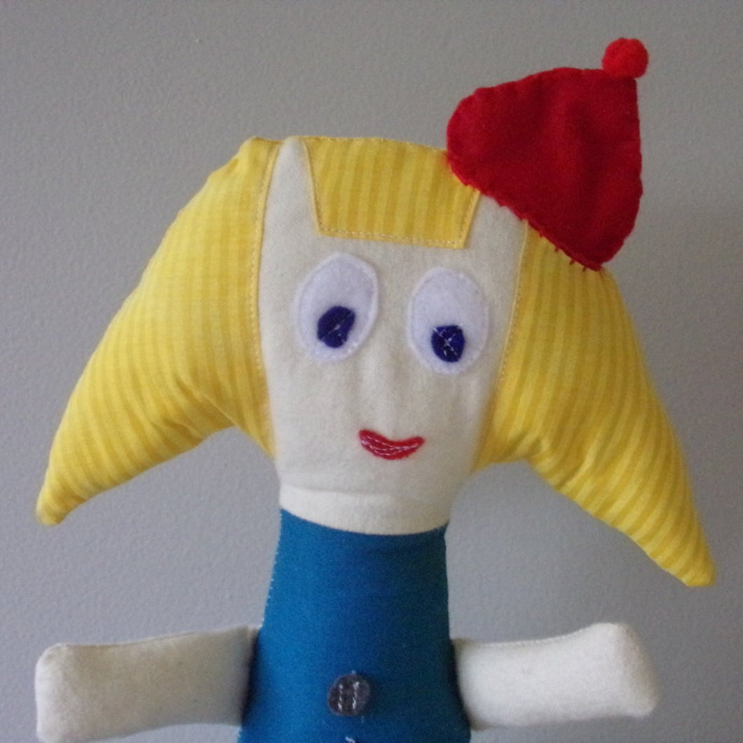 PEG - Cotton Plush Doll, Cartoon Inspired Peg Doll, Cartoon Inspired Rag Doll