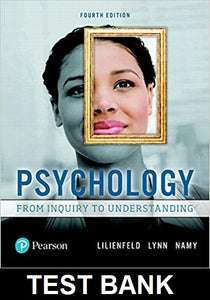 Test Bank for Psychology from inquiry to understanding 4th Edition