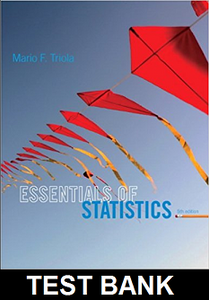 Test Bank for Essentials of Statistics 5th Edition Triola