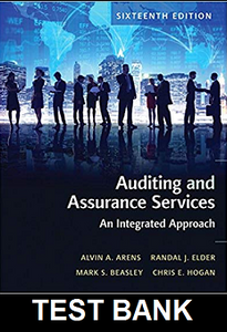 Test Bank for Auditing and Assurance Services 16th Edition Arens