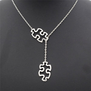 Fashion Casual Tibetan Silver Autism Jewelry Awareness Necklace