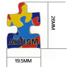 Load image into Gallery viewer, Autism Awareness Heart Hope Walking Angel Jigsaw Puzzle Ribbon Lapel Pins
