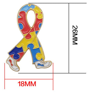 Autism Awareness Heart Hope Walking Angel Jigsaw Puzzle Ribbon Lapel Pins
