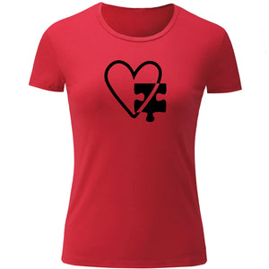 iDzn Fashion Autism Heart Print Short Sleeve T Shirt Women Cotton Ladies Girl's Tshirts Casual Loves Tee Valentine's Gift Tops