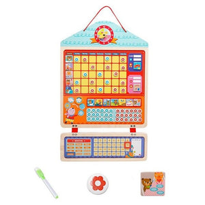 Educational Magnetic Responsibility Chart Playboard For Children Baby Wooden Behavior Record Board Toy With Magnets Reward Chart