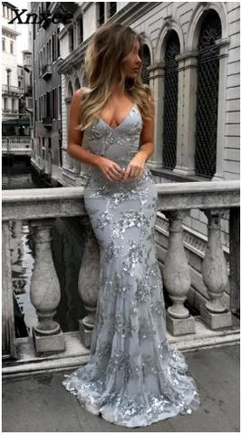 SEXY SILVER LONG BACKLESS PROM EVENING GOWN - Dealsfor29