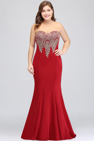 Mermaid Formal Evening Party Gown Plus Size