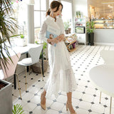 Sleeve Elegant Spring Hollow-out Women Long Dress