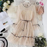 new women Star sequins o-neck mesh gauze flare sleeve dress | www.dealsfor29.com