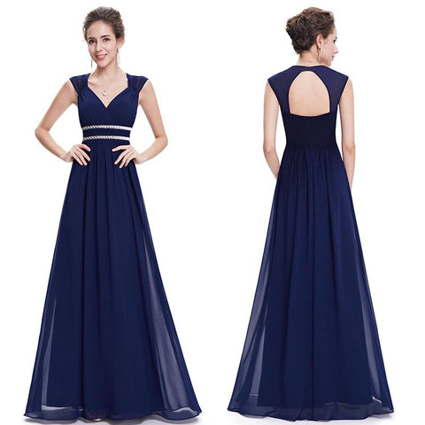 Plus Size Elegant V-Neck Long Evening Party Dress - blue evening dress - blue dress - evening Dress - party dress - beach party dress - https://dealsfor29.com/collections/party-dress