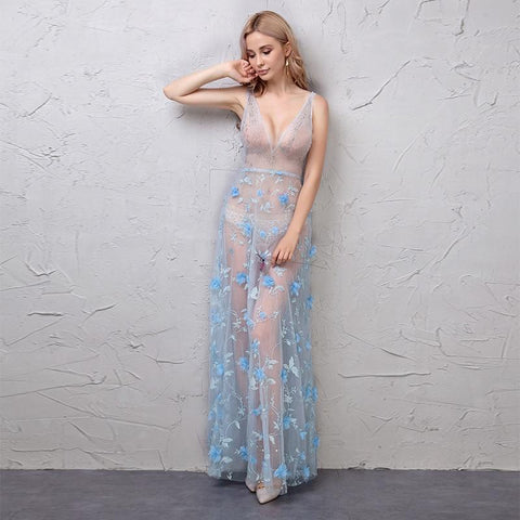 Sexy Deep V-neck Light Blue Night Dress | Dealsfor29.com