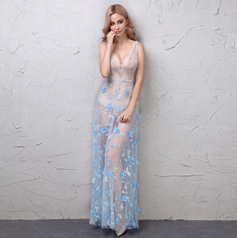Sexy Deep V-neck Light Blue Night Dress