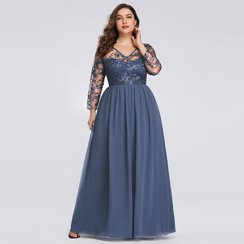 Plus size Navy Blue elegant evening dress