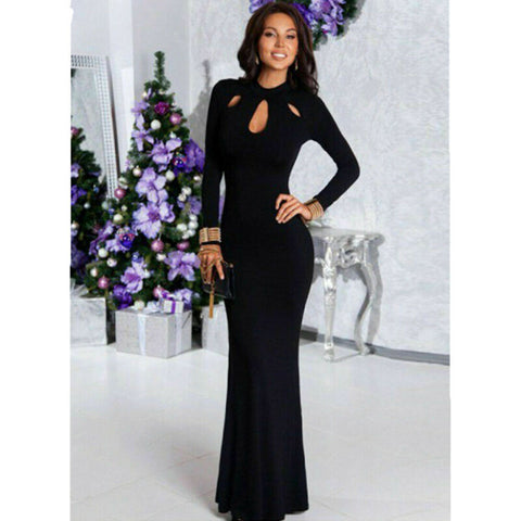 Black Long Sleeve Sexy Formal Evening Dress