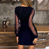 Women's Sequins Sexy V-Neck Mini Evening Party