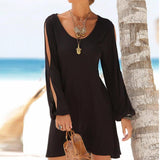 Casual O-Neck Hollow Out Sleeve Straight Dress deals for 29