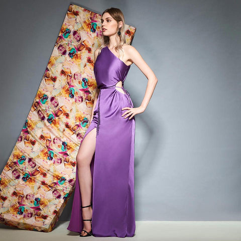 Sexy Lilac One Shoulder Evening Party Dress