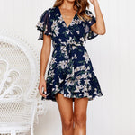 Floral Print V-Neck Holiday Summer Short Sleeve Party Mini Dress