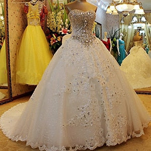 Long Sleeves Diamond Crystal Sweetheart Corset Wedding Dresses | www.dealsfor29.com