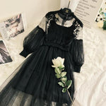 Women Lace Flower log sleeve Dress - dealsfor29.com