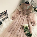 Women Lace Flower log sleeve Dress Princess Dress vintage Dress | dealsfor29.com