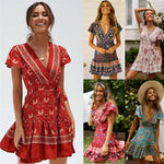 Boho Summer Beach Dress Short Sleeve Floral Mini Dress