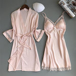 Casual Robe Set Lace Trim Sleepwear Home Clothes Nightwear deals for 29