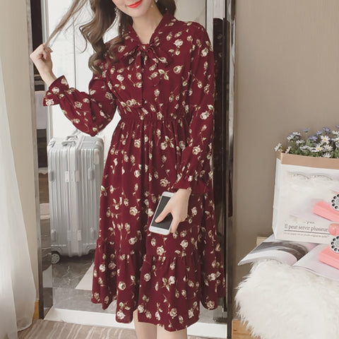 BOHO FLORAL PRINTED LONG SLEEVE VINTAGE LONG DRESS WWW.DEALSFOR29.COM