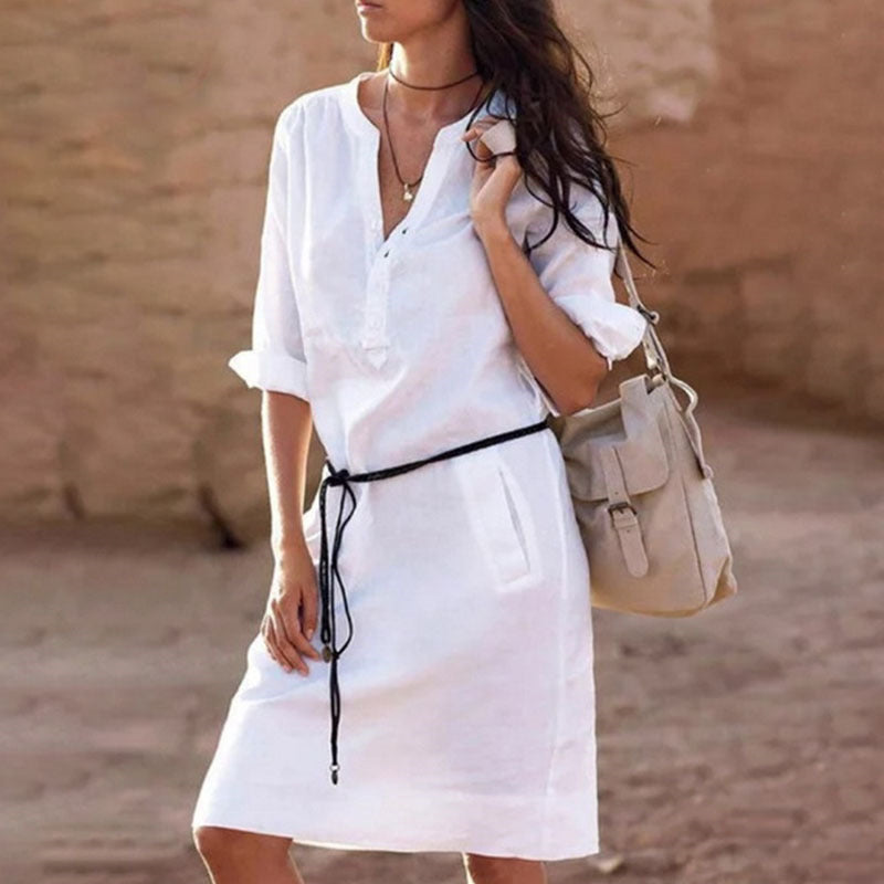 V Neck Casual Half Sleeve Summer Shirt Dress