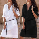 V-Neck Casual Half Sleeve Summer Shirt Dress - dealsfor29.com