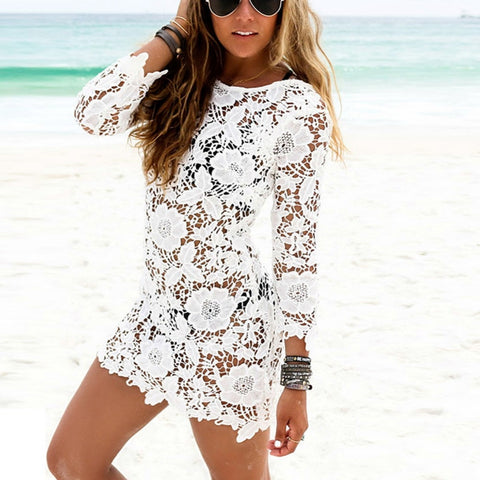 Hollow Out White Lace Sleeve O-neck Mini Dress
