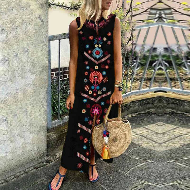 Vintage Floral Print Long Sleeveless Slit Lady Maxi Dress
