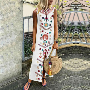 Vintage Floral Print Long Sleeveless Slit Lady Maxi Dress - www.delasfor29.com