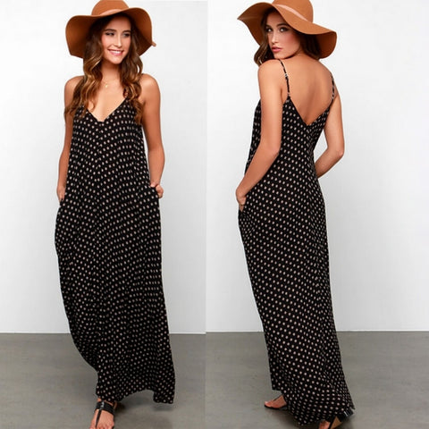 Black Polka Dot Print V Neck Sleeveless Sundress