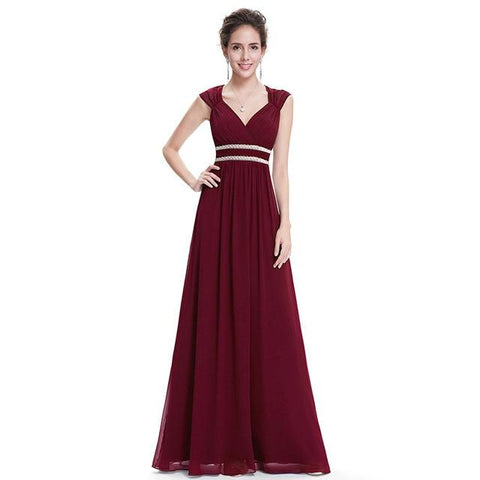 Plus Size Elegant V-Neck Long Evening Party Dress -burgundy evening dress - blue dress - evening Dress - party dress - beach party dress - https://dealsfor29.com/collections/party-dress