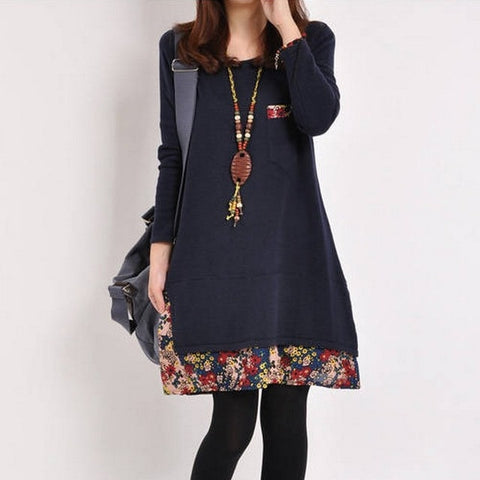 Casual Floral Printed Winter Women Dress Long Sleeve Loose Dress
