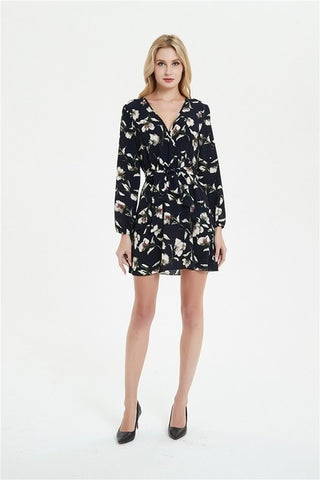 Causal Long Sleeve Floral Printed Mini Party Dress www.dealsfor29.com