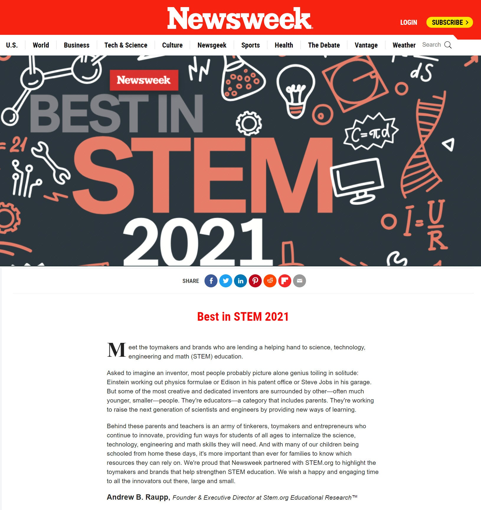 Best Toys in STEM 2021 featured by Newsweek - Unit Bricks and Ugears