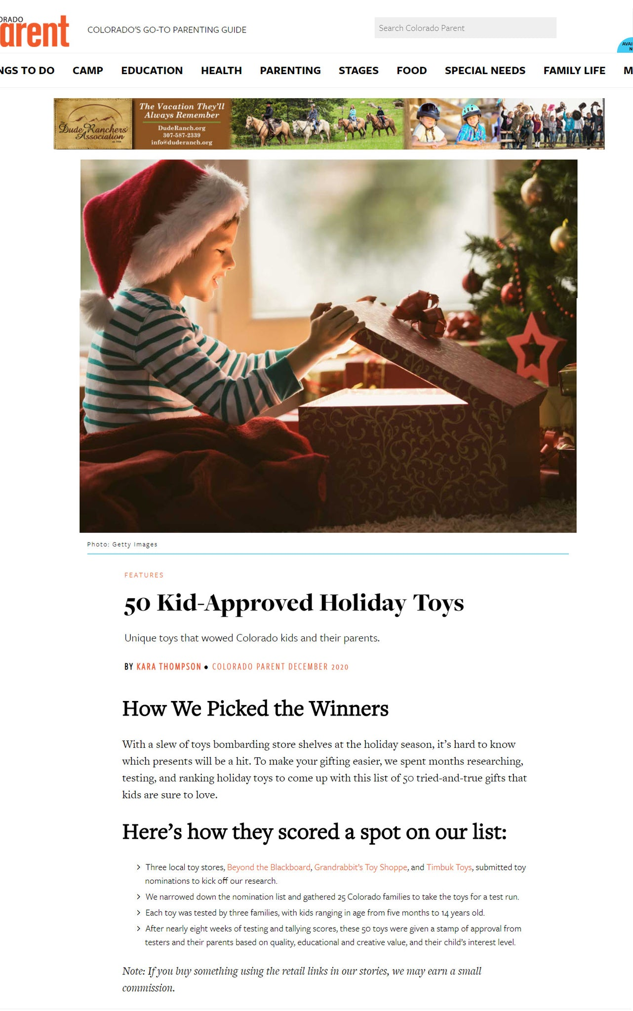 Pixio featuredin Colorado Parent as one of 50 unique toys - Holiday favorites for this season