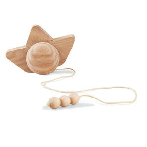 BABAI Wooden Ship in Natural Finish - Push and Pull along Toy for 2+