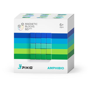 PIXIO Abstract Series AMPHIBIO 60 Magnetic Blocks in 5 colors, 6+ ages