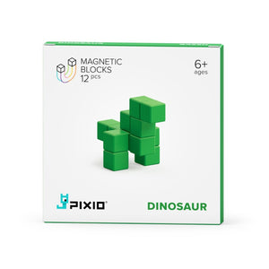 PIXIO Magnetic Blocks Color Series Animals Green Dinosaur Box