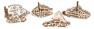 UGears Mechanical Wooden Model 3D Puzzle Kit U-Fidget Ships Tribiks 4 pieces Yacht, Sailboat, Boat, Submarine
