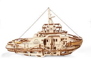 UGears Mechanical Wooden Model 3D Puzzle Kit Tugboat Boat