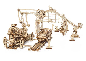 UGears Mechanical Wooden Model 3D Mechanical Town Rail Manipulator