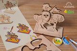 UGears 4Kids Coloring Set #2 (Knight, Biker, Rocket, Rocking Horse, and Whale)